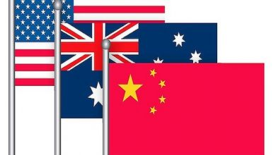 Ilustrasi bendera nasional Amerika Serikat, Australia dan China. Foto/Global Research